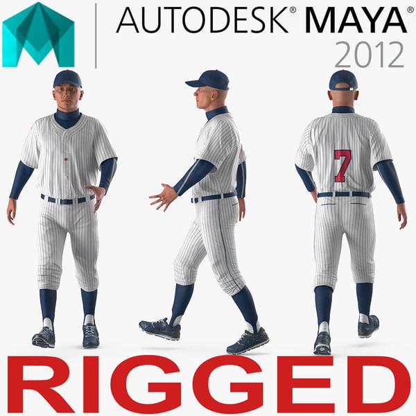 3D baseball player rigged generic model