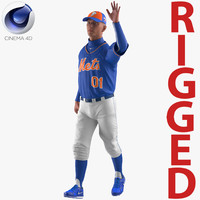 3D model baseball player rigged mets