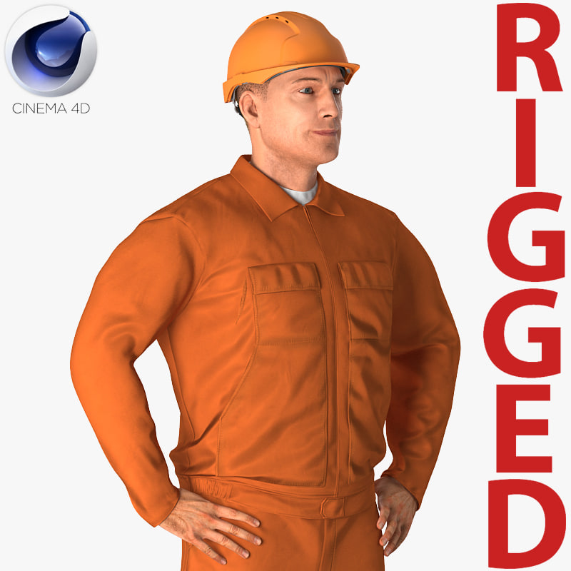 Builder Wearing Orange Coveralls Rigged for Cinema 4D