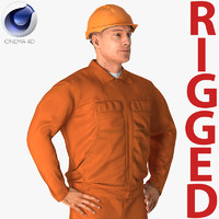 builder wearing orange coveralls 3D