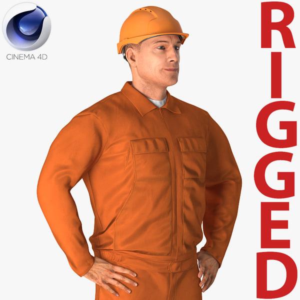 builder wearing orange coveralls 3D