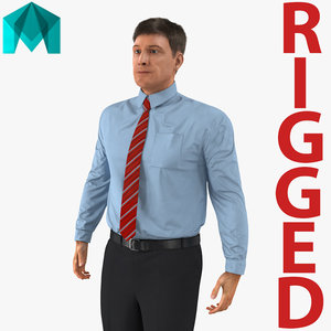 3D office worker rigged model