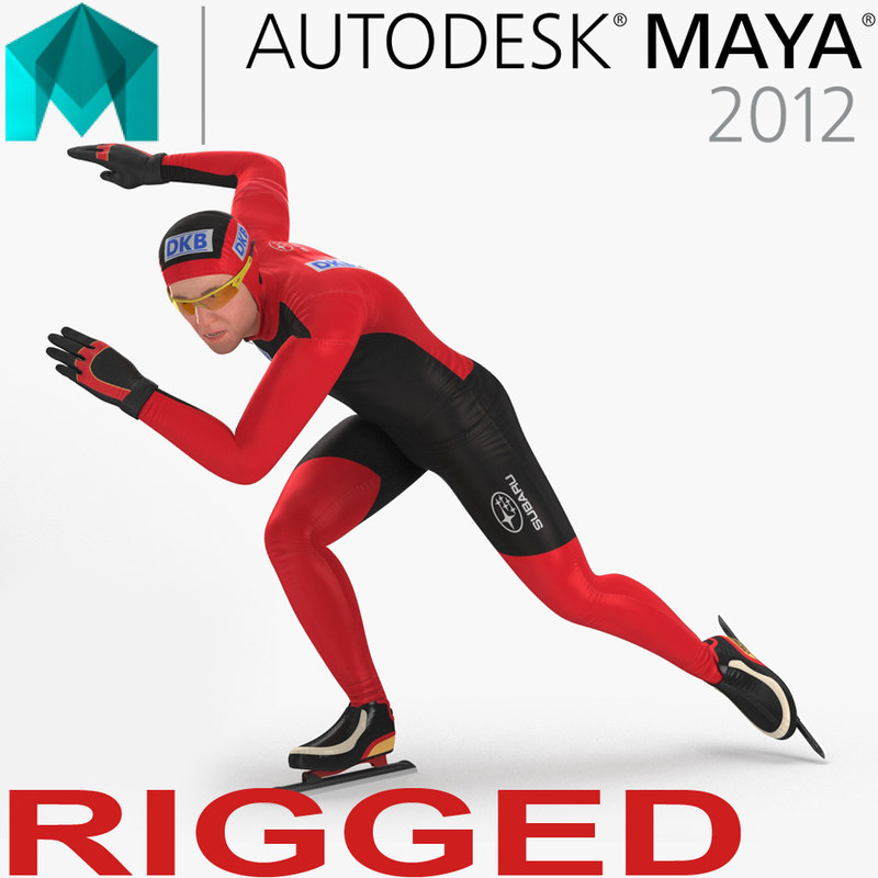speed skater rigged 3D model