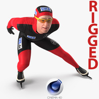 3D speed skater rigged model