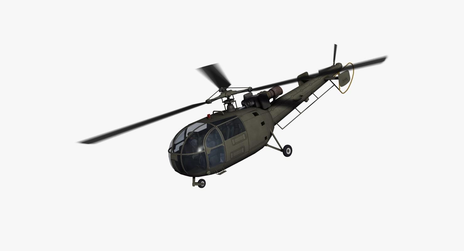 3D sa316b alouette iii helicopter model