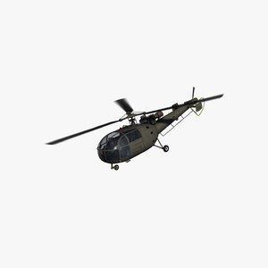 3D sa316b alouette iii helicopter model