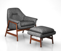 Theo Show Wood Chair and Ottoman by West Elm