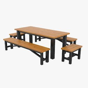 garden table benches set 3D model