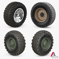 3D wheels military set model