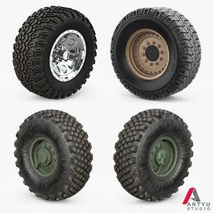 3D wheels military set model