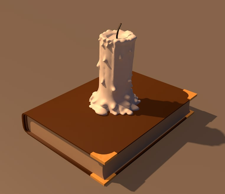 3D model simple candle book