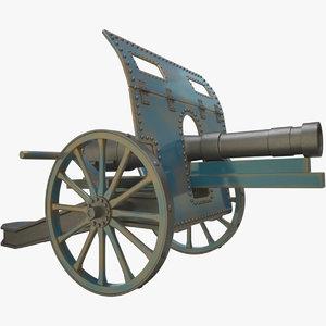 3D ww1 cannon model