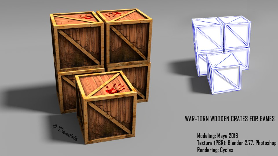 low-poly crate 3D model
