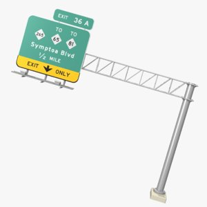 3D highway overhead sign