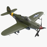 3D american wwii fighter aircraft model