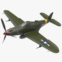American WWII Fighter Aircraft P-39 Aircobra Rigged 3D Model