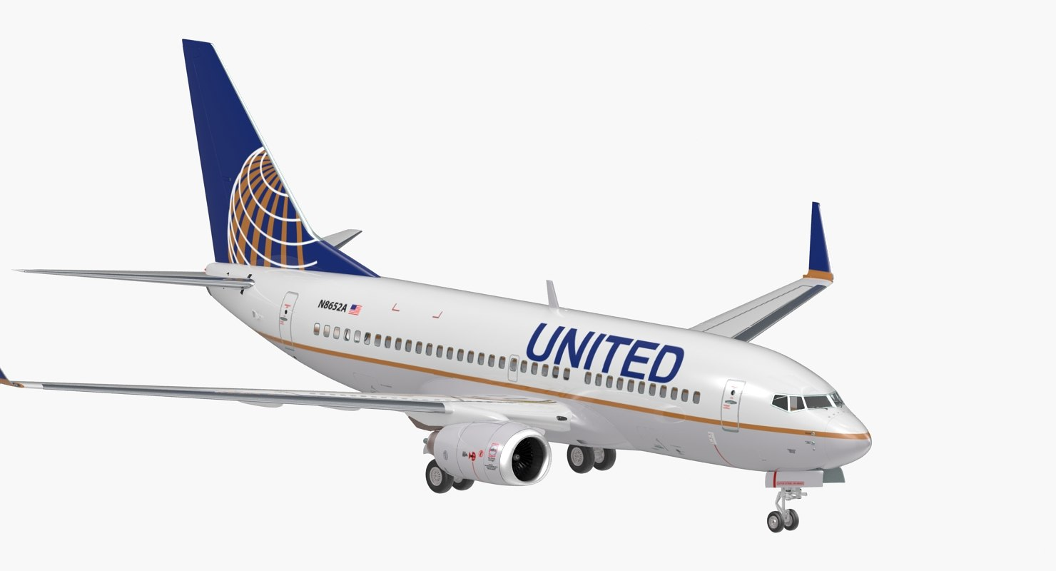 3D boeing 737-700 united airlines