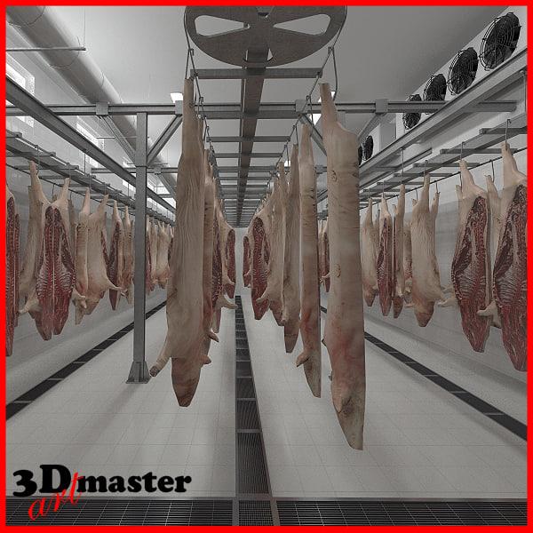 3D slaughter house hanging pork model