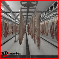 3D slaughter house hanging pork model