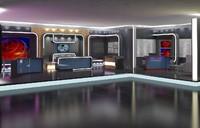 virtual tv news set 3D
