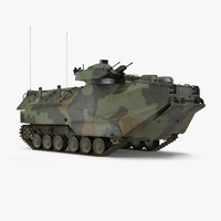 Landing Tracked Vehicle AAV P7 Rigged 3D Model