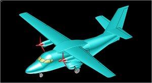 3D czech l410 turbolet aircraft