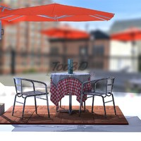 aluminium chair set table 3D model