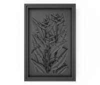 3D bas relief plant frame