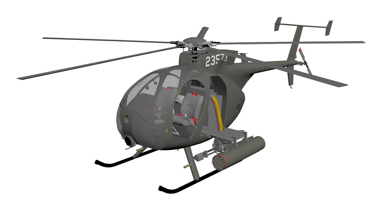 3D boeing ah-6 - little bird model