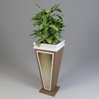 3D flowerpot pot flower model