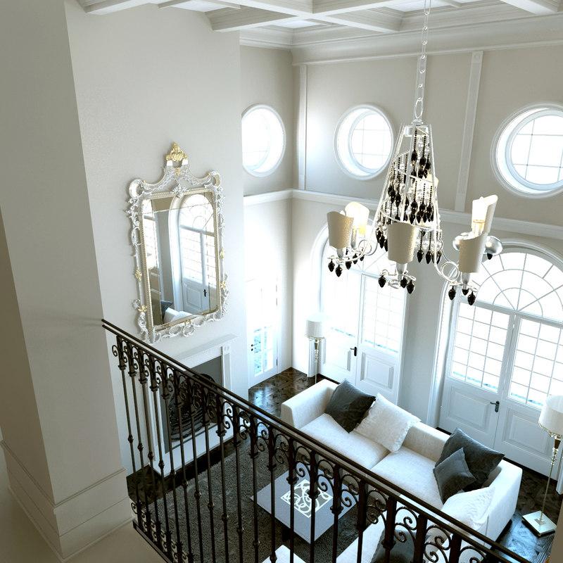 3D model classic living room