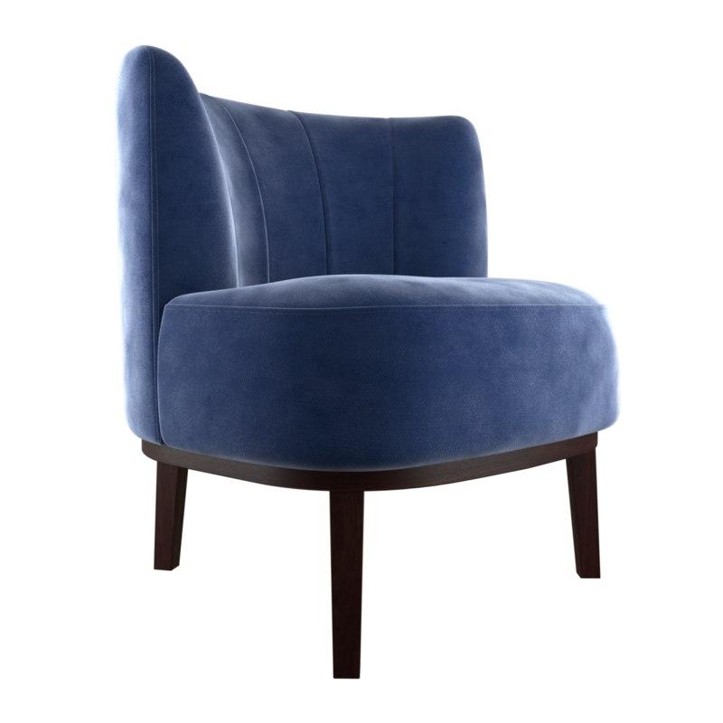3D velvet armchair