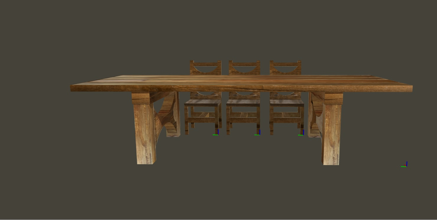 3D model wood table chairs