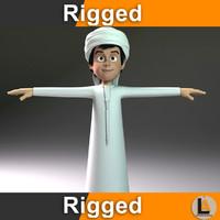 3D cartoon man arab boy