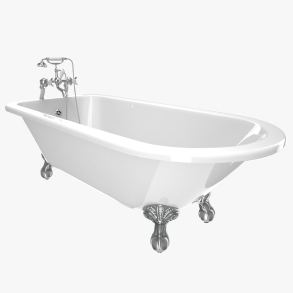 vintage bathtub essex white 3D model