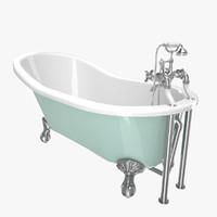 3D vintage bathtub aqua coated