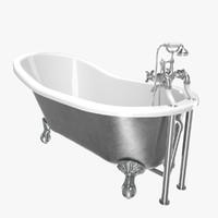 vintage bathtub kent chrome 3D model