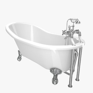 3D vintage bathtub kent white model