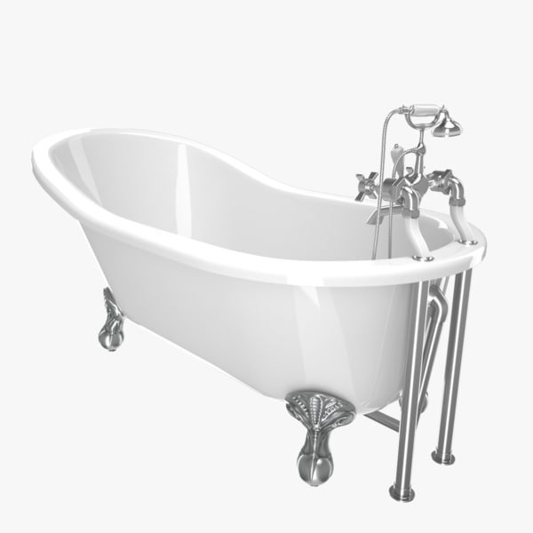 3D vintage bathtub kent white model