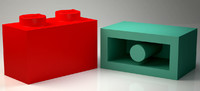Brick 1x2 Orginial Size Ready for Print and Games 3D print model