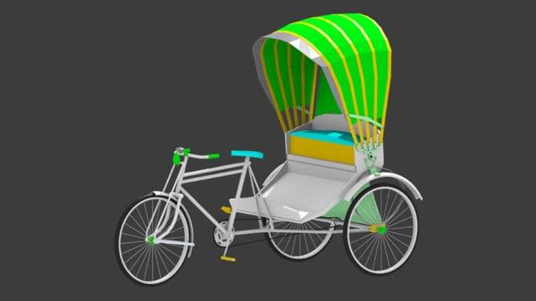 rickshaw 3 wheeler 3D model