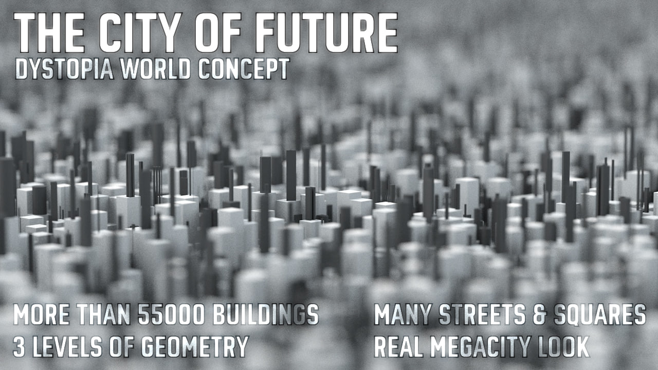 fantasy city buildings 3D model