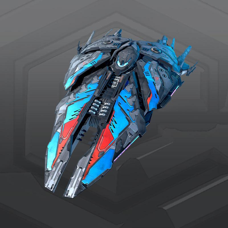 sf alien destroyer a5 3D model