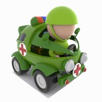 3D ambulance toon military