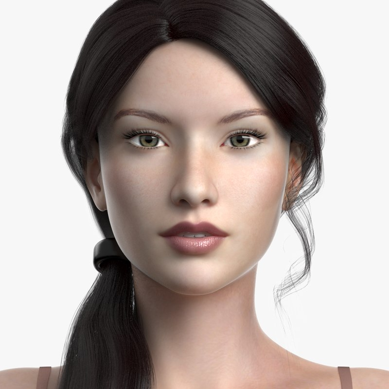 3D model female hair cinderella
