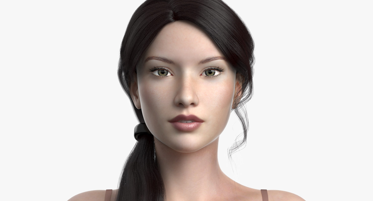 3D model female hair cinderella