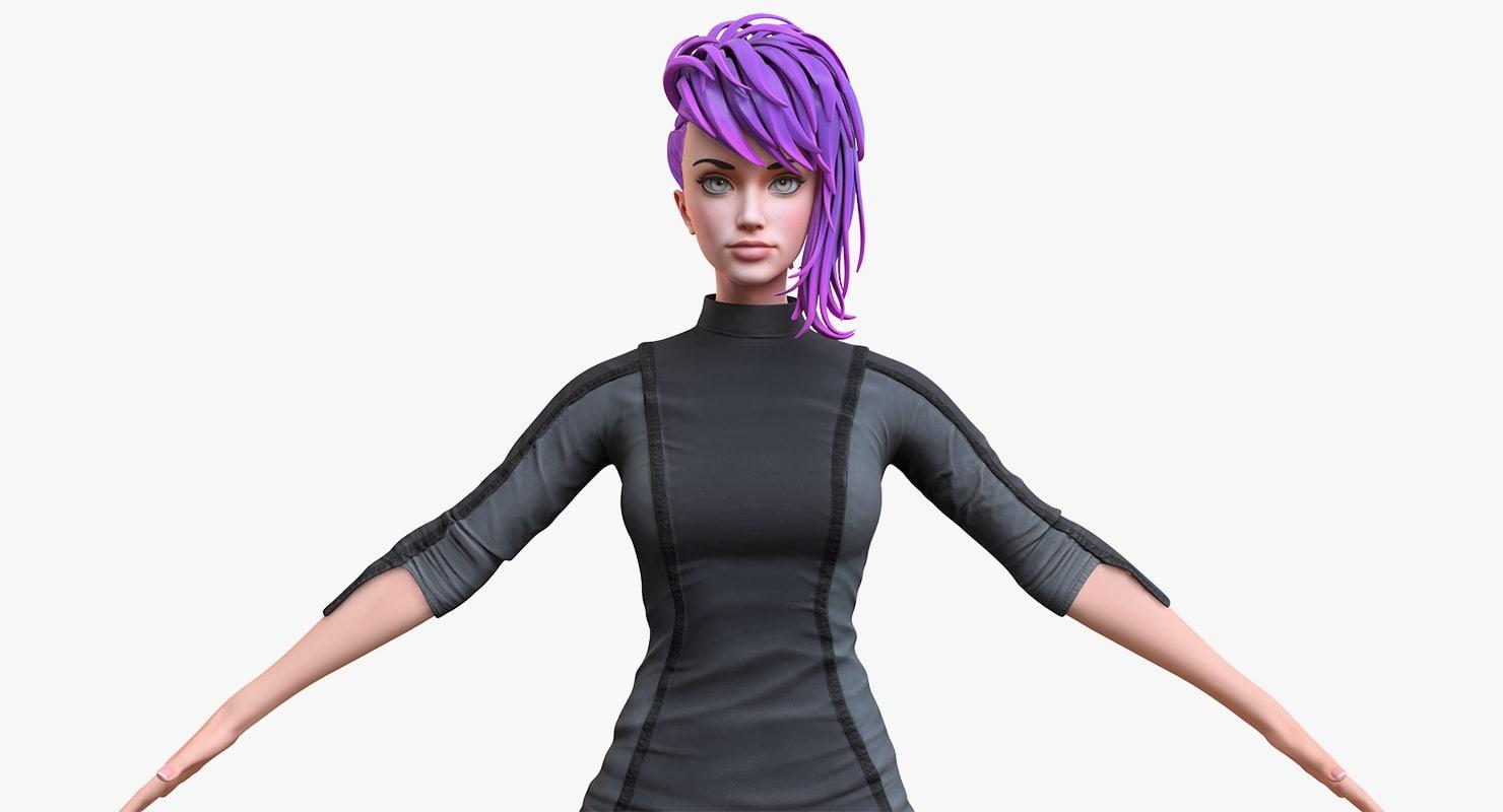 3D stylized girl 2