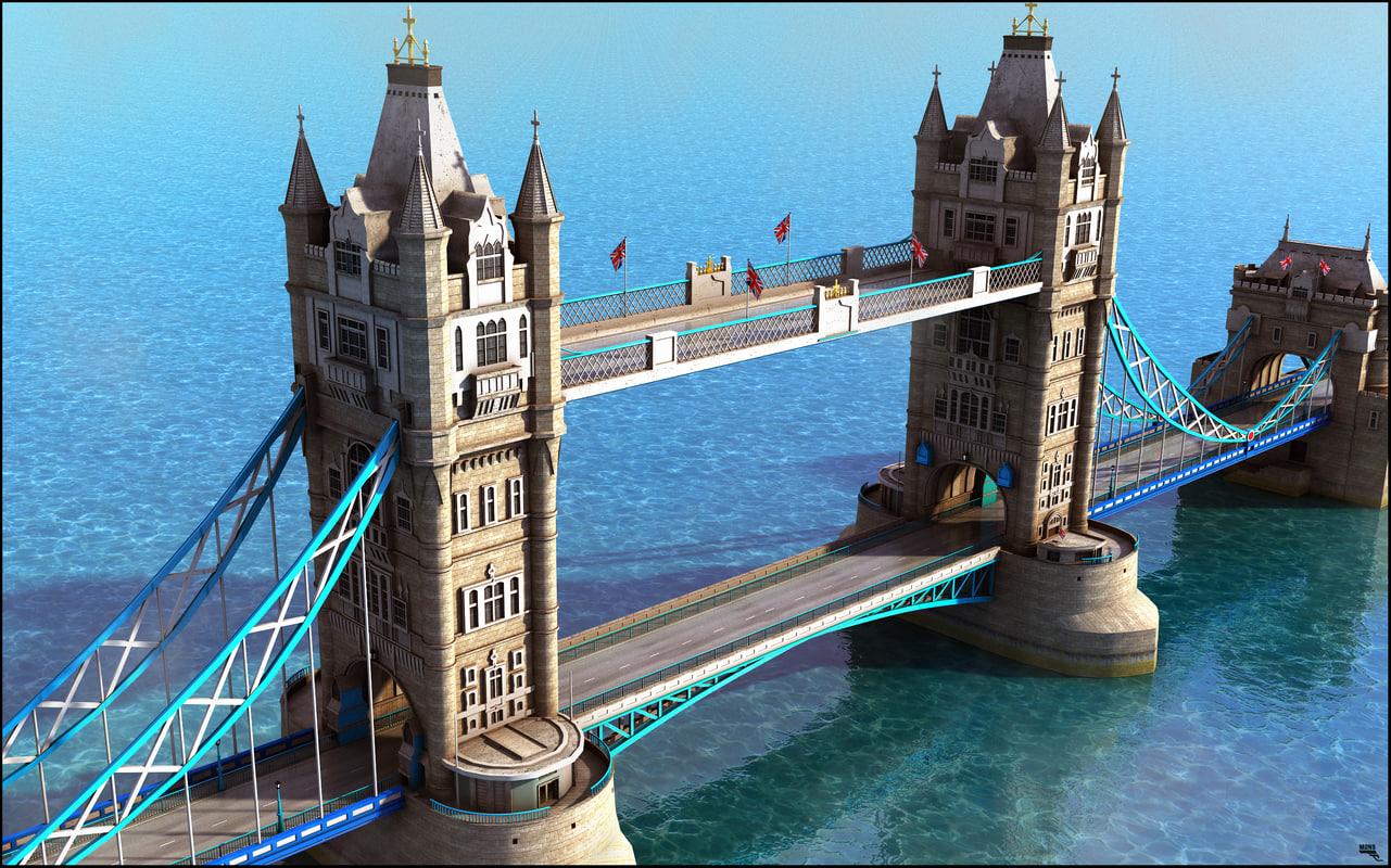 3D bridge tower london model