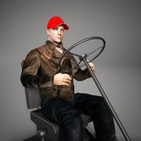 3D driver man worker