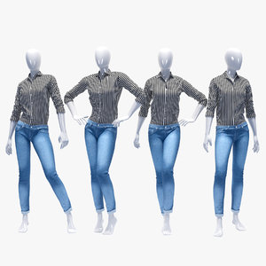 set female jeans 3D model